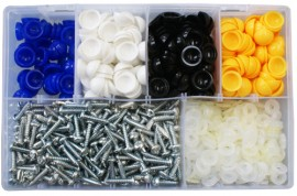 Assorted Domed Number Plate Fasteners (350)