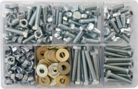 Assorted Box of M8 Hardware - Setscrews, Nuts & Flat Washers (310)